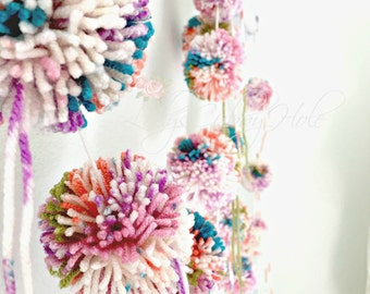 Custom Order for Jill Pom Pom Garland Yarn Sherbet Fuchsia + Pink + Sage + Purple + Orange Pastel Birthday Garland  Baby Bridal Shower