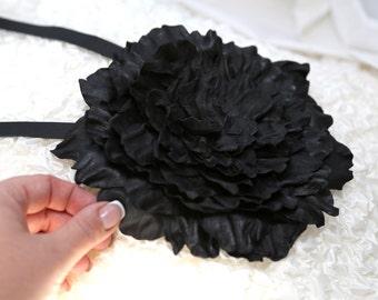 Big Black Leather Flower Brooch Pendant
