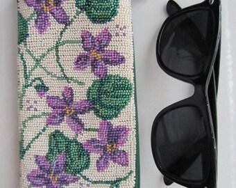 Violets Eyeglasses Beaded Case Violets Beaded Cell Phone Case Floral Eyeglasses Beaded Case Handmade Case