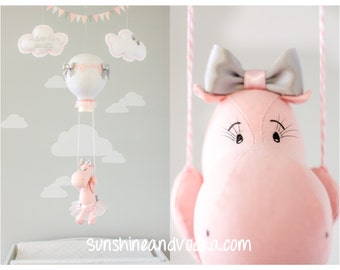 Baby Mobile, Hot Air Balloon, Hippo Nursery Decor, Travel Theme, Nursery Mobile, Sunshine and Vodka, i197