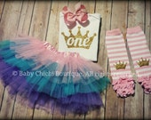 First birthday outfit girl Pink and gold birthday Princess birthday Gold glitter Birthday Princess leg warmers Princess tutu