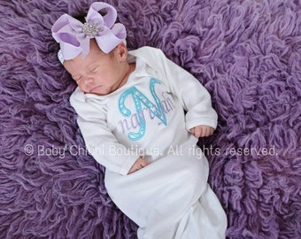 Take home outfit girl Newborn girl gown Infant Gown Baby girl outfit Monogrammed gown Personalized gown Applique baby girl