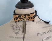 Bow tie choker, bow necklace, leopard bow, boot cuff, boot jewelry, African bow collar, Leather choker, chain choker, fur bow necklace