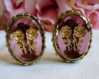 Vintage Earrings Whiting & Davis Amethyst Golden Floral Intaglio Glass Earrings Simply Stunning Vintage Jewelry By  Vintagelady7