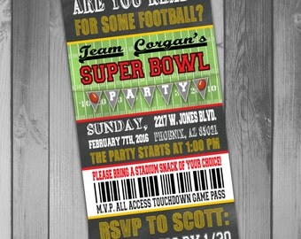 Super Bowl Party Invitation Super Bowl Invitation Football