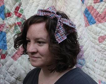 red plaid headband