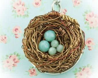 Family LOCKET Necklace 1 to 10 eggs. Personalized Nest Silver Locket Amazonite gemstone Mothers mom custom gift Friend Sister birds nest