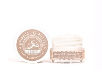 SUMMER SALE - Almond & Vanilla - Whipped Lip Butter - Natural Icing for Your Lips
