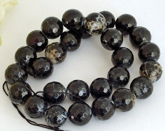 Full Strand AA Grade Black Lace Agate Round Faceted Beads 14mm
