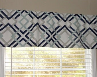 """Premier Prints Winston Valance 50"""" wide x 16"""" long Lined Or Unlined Navy Blue Light Blue Gray White"""