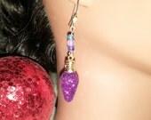 Christmas tree lights dangle earrings - christmas lights earrings - christmas jewelery - Christmas earrings - secret santa stocking stuffer