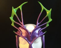 PURPLE & Green TRITON HEADPIECE Leather Mask Mardi Gras Antlers Horns Villian Fantasy Halloween Mask Carnival Cosplay Comicon Pagan larp