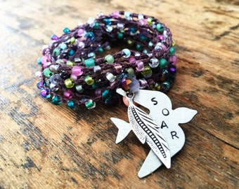 Soar Above: Versatile crocheted necklace / bracelet / belt / headband