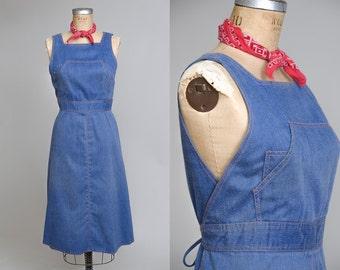 70s Denim Wrap Dress Bohemian Blue Jean Overall Style Western Dress