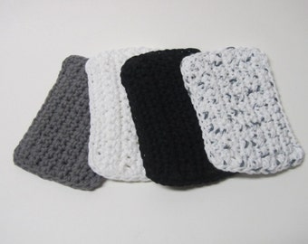 Crochet Cotton Sponges Washcloths Dishcloth face scrubbies - set of 4