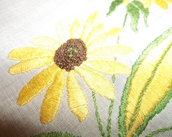 9pc. Vintage MADEIRA SUNFLOWER Organdy RUNNER, Placemats,Napkins...new Old Stock...Perfect Condition