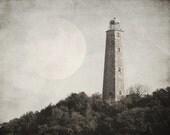 Lighthouse photograph full moon coastal art historic Cape Henry decor sepia