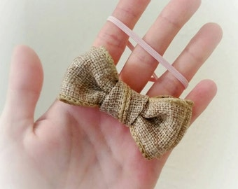 Burlap Baby Headband Baby Headband Newborn Photo Prop Khaki Headband Bowtie Bow Bowtie Headband Photo Prop