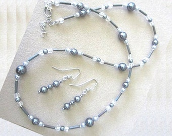 Charcoal & Silver Pearl Glass Bead Necklace w/Earrings, Black and Grey Necklace Set, Glass Bead Jewelry Set, Handmade Beaded Jewelry Gift