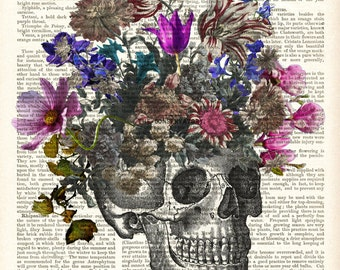 Skull and Flowers LARGE archival print 13 x 19 inches - digital art print