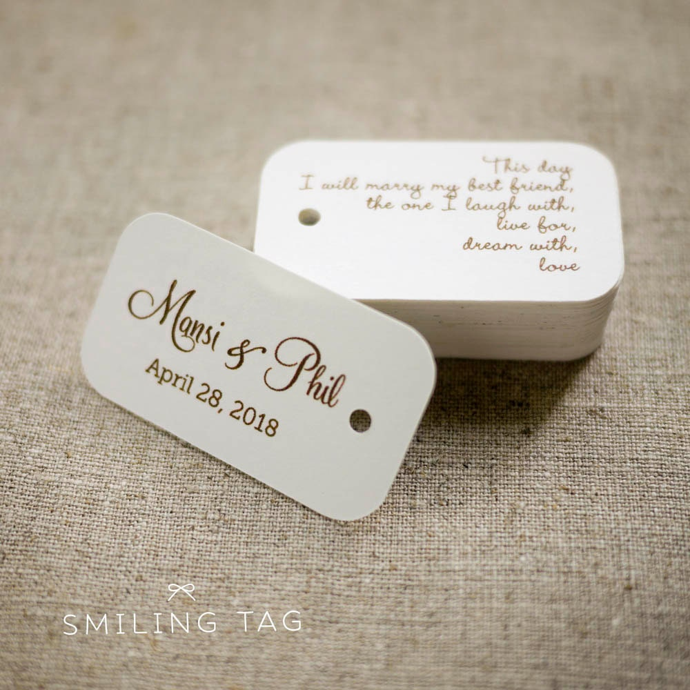 On This Day Personalized Gift Tags Custom Wedding Favor Tags