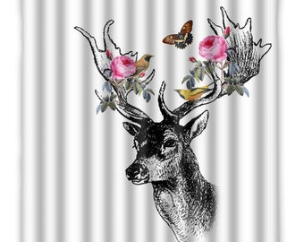 Floral Forrest Deer With Birds Shower Curtain   Deer Shower Curtain    Forrest Animal   Floral