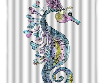 Watercolor Seahorse Shower Curtain - Seahorse Bath Decor - Ocean Seahorse Shower Curtain - Sea life - Ocean Decor - Bathroom - sea creature