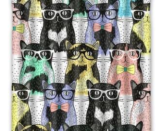 Crazy Cat Lover Lady Shower Curtain - Cat Shower Curtain - Cat Faces Print - Cat Lover Home Decor - Cats bath Home Decor