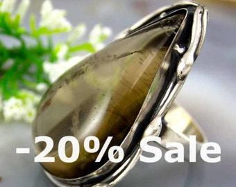 Quartz Ring Smoky Quartz Sterling Silver