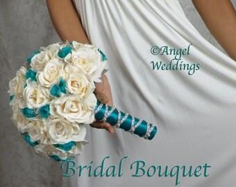SHANTI IVORY TEAL Wedding Bouquet Package Silk Flowers Arrangement Bouquets Custom Mothers Corsage Boutonnieres Groom Bridesmaids Keepsake