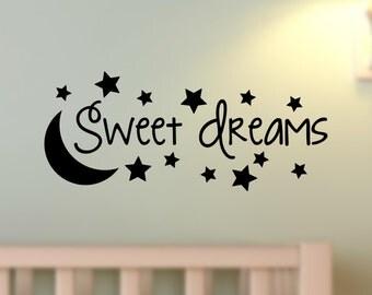 Sweet Dreams Moon Stars Wall Decal Vinyl Decor Words Sticker Nursery Art Baby Child Bedroom