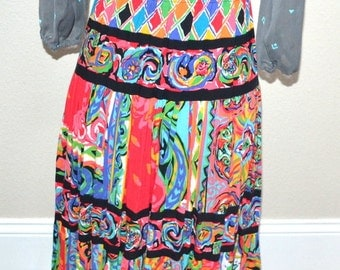 Vintage Carole little Petite  colorful hippie midi  Gypsy Roma  Skirt  long  summer rayon  skirt size 2 made in USA  70s skirt