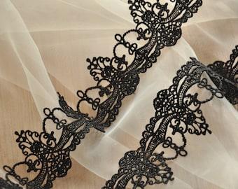 Black Lace Trim Venice Lace Trim Antique Crochet Lace Fabric Trim for Jewelry Design