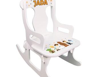 Star Wars Rocking Chair Personalized Child's Rocker White Puzzle Rocker Kids CUSTOM furniture for Star War nursery baby shower gift PUZZ-231