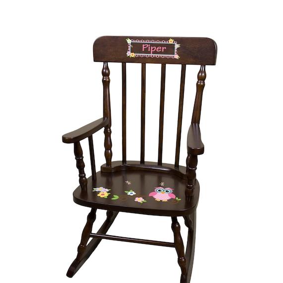 Owl Rocking Chair Custom Espresso Rocker Childs Cherry Wood Rocker ...