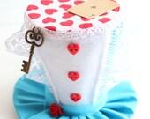 Alice In Wonderland Mini Top Hat - Mad Hatter Mini Top Hat - Rabbit Ear Alice In Wonderland Novelty Photo Prop Hat