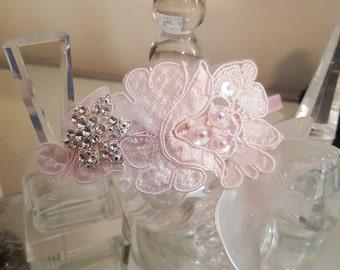 Pink Lace Headband, Pale Pink Bling Headband