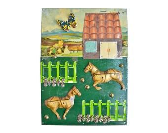 HORSE FARM, mixed media assemblage, vintage tin toys, folk art horse art,  by Elizabeth Rosen