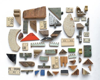 nice lot of salvaged wood, bits and pieces, wood shapes, salvaged wood, ruler pieces from Elizabeth Rosen