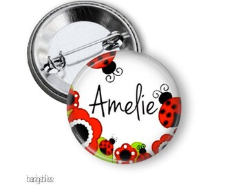 Name badge  - Ladybug name pinback button badge custom made