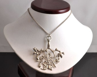 """Vintage Sterling Silver Pendant by New York Studio Jeweler """"Jo Michels"""" - Modern Design Silver Tree Necklace on Chain, 925 Silver Jewelry"""