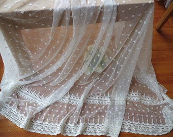 tulle lace fabric, embroidered mesh lace with polka dot flowers