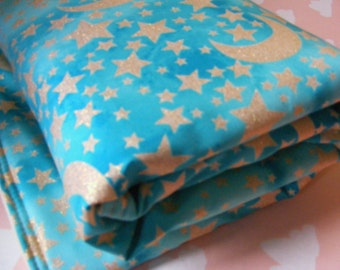 Baby Bedding / crib bedding / crib blanket / gender nuetral metallic moon and stars