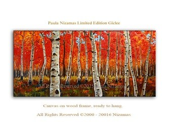 Wall Art Birch Forest in Fall Giclee PRINT on canvas or paper Home interior  Decor trees in red autumn colorful painting