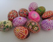 Vintage 11 Hand Decorated Painted Real Chicken Eggs Traditional Slavic Style Easter Ostara Spring