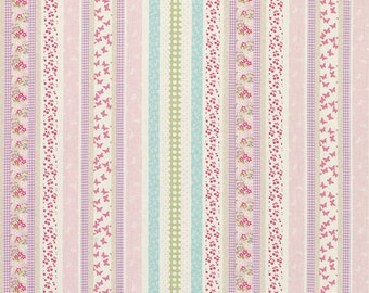 Laura Ashley Clementine cotton fabric. Pink lilac multi stripe.