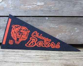 Vintage Football Pennant Chicago Bears 4x9 Inch 1970s Era NFL Small Mini Felt Pennant Banner Flag Collectible Vintage Display Sports