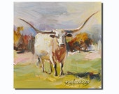 """Texas Longhorns cow portrait  oil Painting Originals on canvas panel 6x6"""""""
