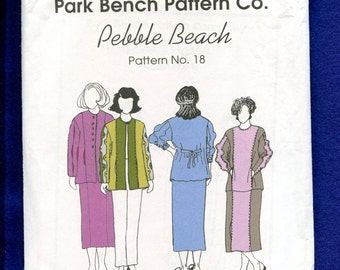 Park Bench Pattern Co. No. 18 Loose Fitting Jacket Shirt & Skirt One Size Fits All UNCUT