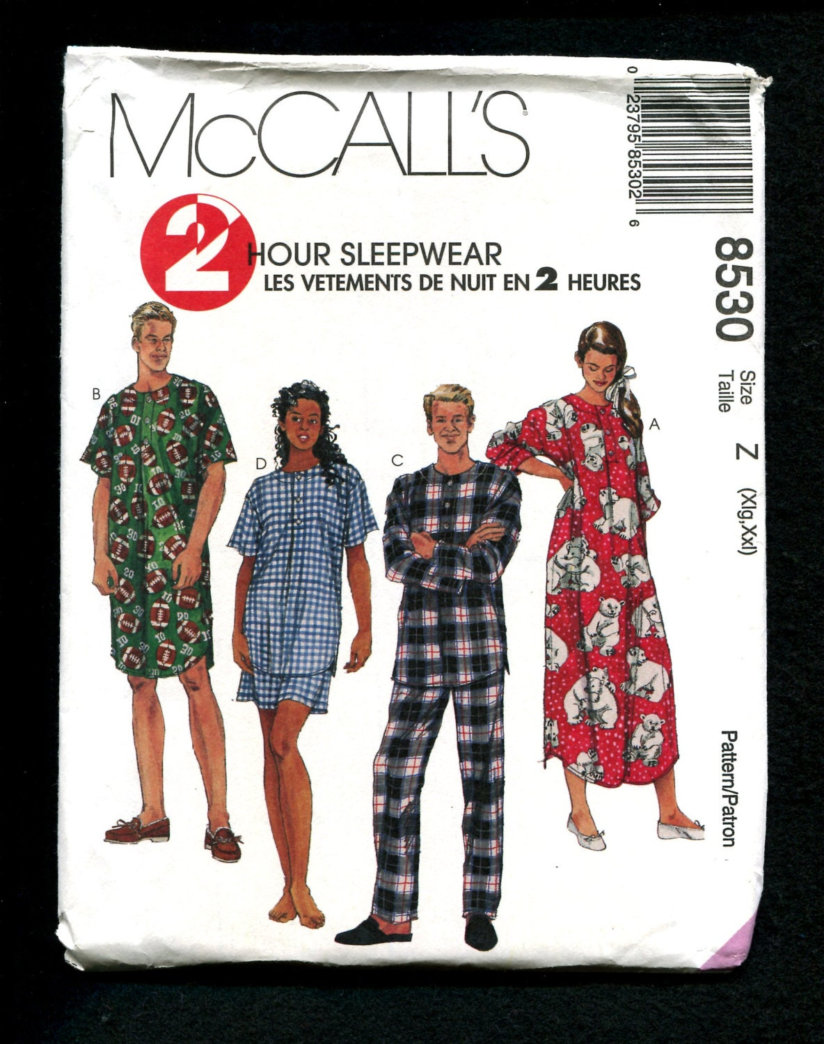 McCalls 8530 Nightgowns Nightshirts & Pajama Bottoms for Him